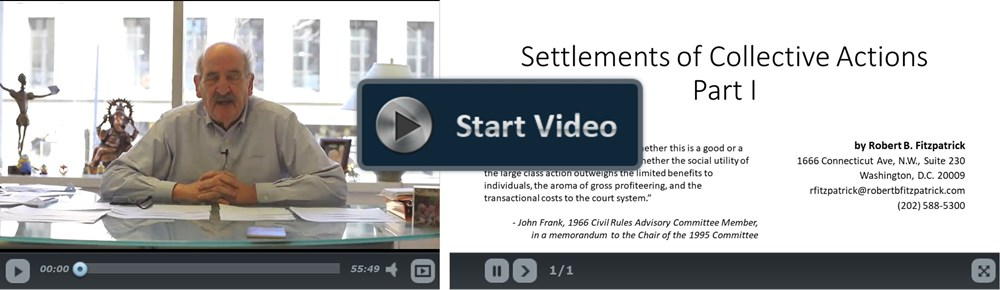 Settlement of Collective Actions Part I