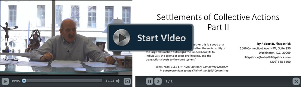 Settlement of Collective Actions Part II